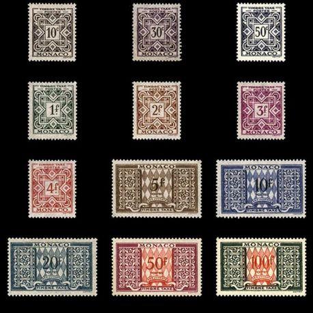 Timbre Monaco Taxe N° 29/39 neuf sans charnière