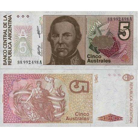 Billets de banque Argentine Pk N° 324 - 5 Australes