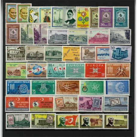 Timbre Turquie année complète 1963 neuve