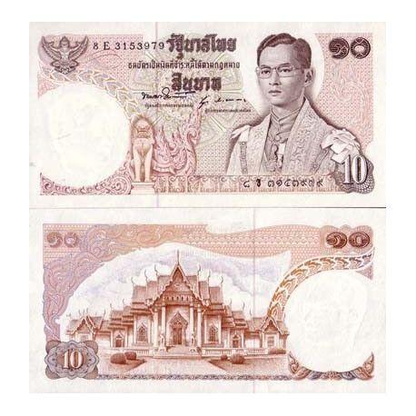 Billets de collection Billets de banque Thailande Pk N° 83 - 10 Baht Billets de Thailande 5,50 €