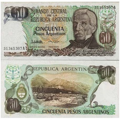 Billets de collection Billet de banque Argentine Pk N° 314 - 50 Pesos Billets d'Argentine 2,00 €
