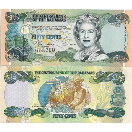 Bahamas - Pk N° 68 - Billet de 0,5 Dollar