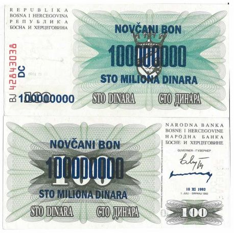 Billets de collection Billet de banque Bosnie Pk N° 37 - 100000000 Dinara Billets de Bosnie 12,00 €