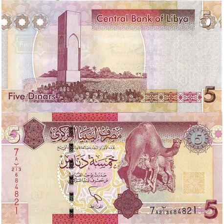 Billets de banque Libye Pk N° 72New 5 - 5 Dinar