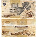 Banknoten Sammlung Färoer Pick Nummer 25 - 100 Kronur 2001