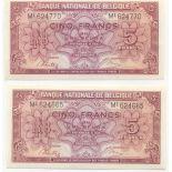 Sammlung von Banknoten Belgien Pick Nummer 121 - 5 FRANC