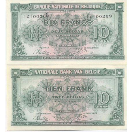 Billet de banque Belgique - Pk N° 122 - Billet de 10 Francs