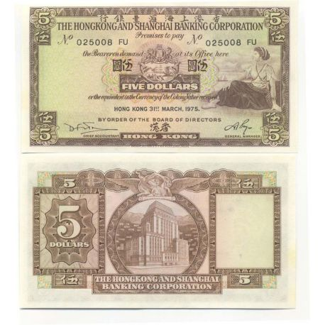 Billet de collection Hong Kong Pk N° 181 - 5 Dollars