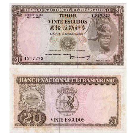 Billets collection Timor Pk N° 26 - 20 Escudos