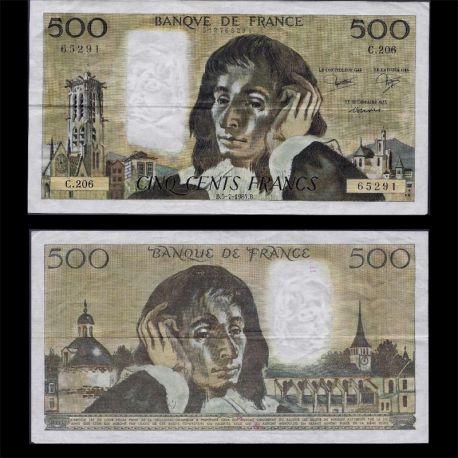 France : Billet de 500 Francs - B.Pascal - TTB