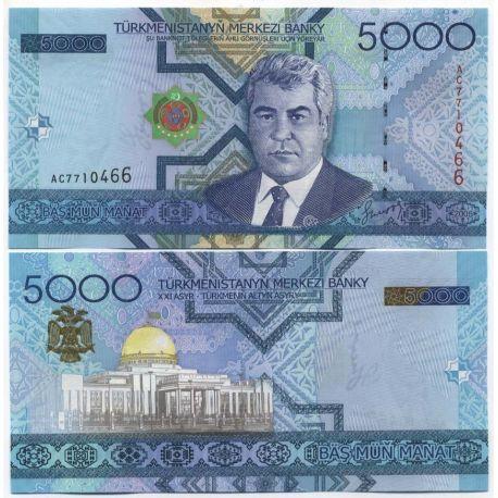 Turkmenistan - Pk N° 21 - Billet de 5000 Manats