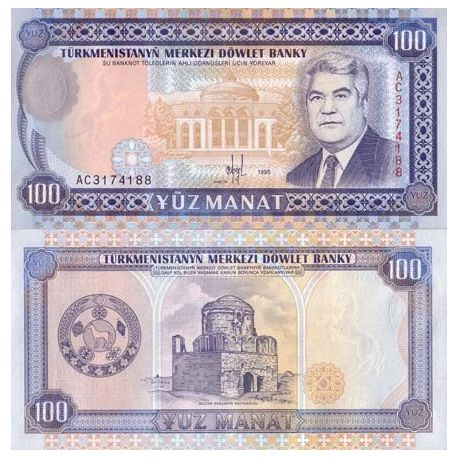 Billets de collection Billets banque Turkmenistan Pk N° 6 - 100 Manats Billets du Turkmenistan 5,00 €