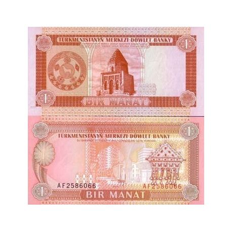 Billets de collection Billets de banque Turkmenistan Pk N° 1 - 1 Manat Billets du Turkmenistan 1,50 €