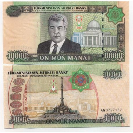 Billets de collection Billets banque Turkmenistan Pk N° 16 - 10000 Manats Billets du Turkmenistan 11,00 €