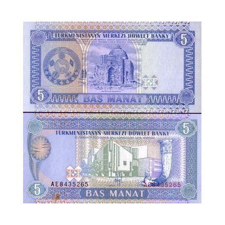 Turkmenistan - Pk N° 2 - Billet de 5 Manats
