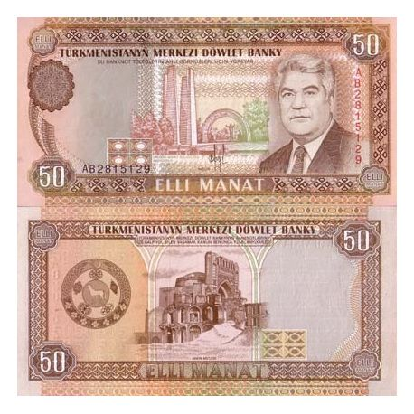 Billets de collection Billet de collection Turkmenistan Pk N° 5 - 50 Manats Billets du Turkmenistan 10,00 €