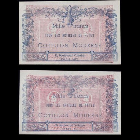 Billet de 1000 Francs - Billet de collection neuf - Au Cotillon Moderne