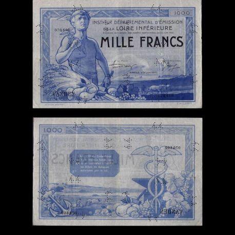 France : Billet de 1000 Francs - Inst. Départ. Loire Inférieure - SUP
