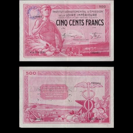 France : Billet de 500 Francs - Inst. Départ. Loire Inférieure - SUP