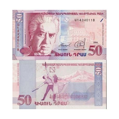 Billet de banque de 50 Dram - Billet de collection Armenie - Pk N° 41