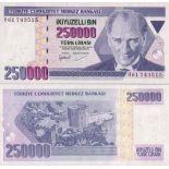 Billets de banque TURQUIE Pk N° 207 - 250 000 Lira