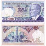 Billetes colección Turquía PK N° 195 - 500 leerá