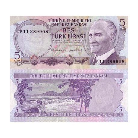 Billet de collection Turquie Pk N° 185 - 5 Lira