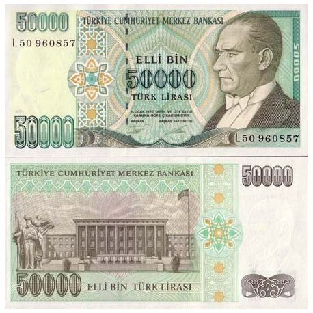 Billets de collection Billets banque Turquie Pk N° 204 - 50000 Lira Billets de Turquie 4,50 €