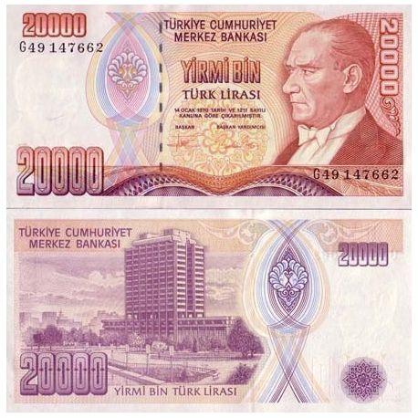 Billets de collection Billet de collection Turquie Pk N° 202 - 20000 Lira Billets de Turquie 6,00 €