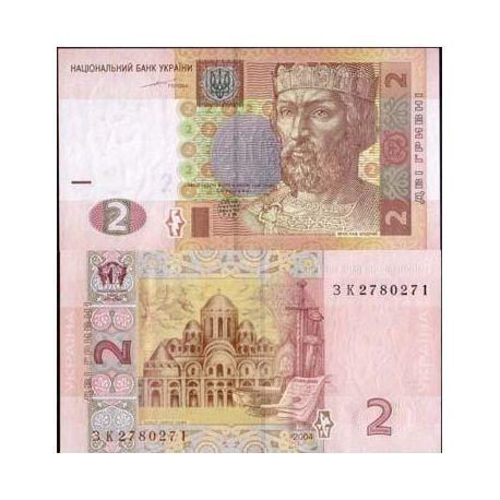 Billets de collection Billets de banque Ukraine Pk N° 117 - 2 Hryvnia Billets d'Ukraine 2,00 €