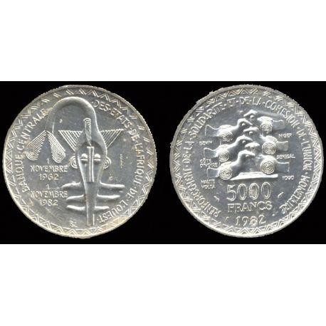 Piéce Afrique : Masque - 5000 Francs 1982 Argent 1982