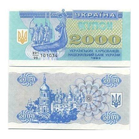 Billets de collection Billet de banque Ukraine Pk N° 92 - 2000 Karbovantsiv Billets d'Ukraine 3,50 €
