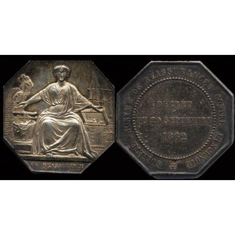 Jeton argent : Assurances - Réassurance incedie 1862