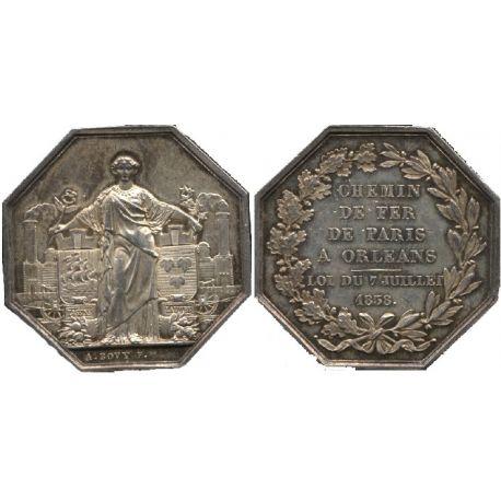 Jeton argent : Chemin de Fer - Paris à Orléans 1838