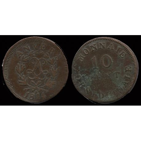 Piéce France : Anvers - 10 cts 1814 BB Louis XIII