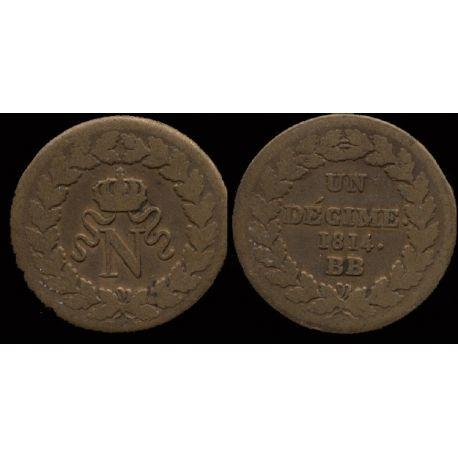 Piéce France : Starsbourg Napoléon 1 - 10 cts 1814 BB