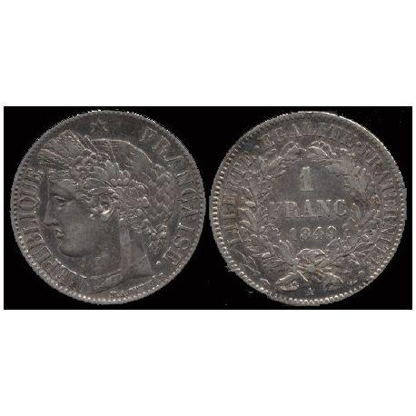 Piéce France : Il République Cérès - 1 Franc 1849 Paris