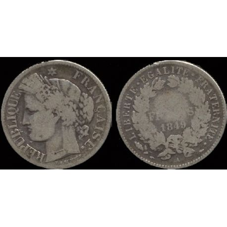 Piéce France : Il République Cérès - 2 Francs 1849 Paris
