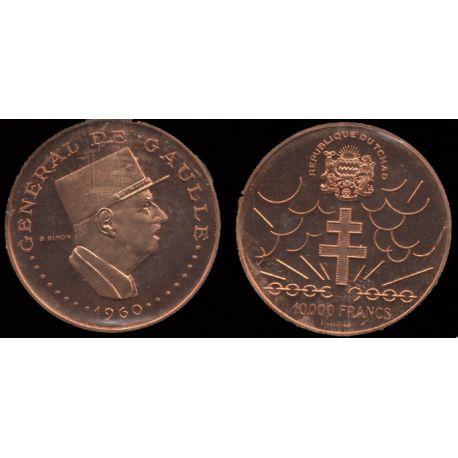 Piéce Colonie Française : De Gaulle Tchad - 10000 francs 1960 Essai