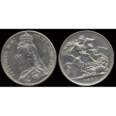 Piéce Grande Bretagne : Victoria - 5 Livres 1891 argent