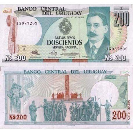 Billet de banque Uruguay Pk N° 66 - 200 N.Pesos