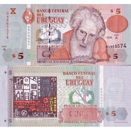 Billets banque Uruguay Pk N° 80 - 5 Cinco