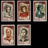 Serie francobolli di Francia N ° 1301/1305 Nuevo non linguellato