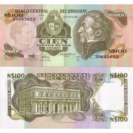 Billets de banque Uruguay Pk N° 62 - 100 N.Pesos