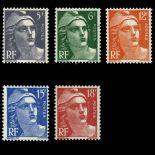 Serie francobolli di Francia N ° 883/887 Nuevo non linguellato