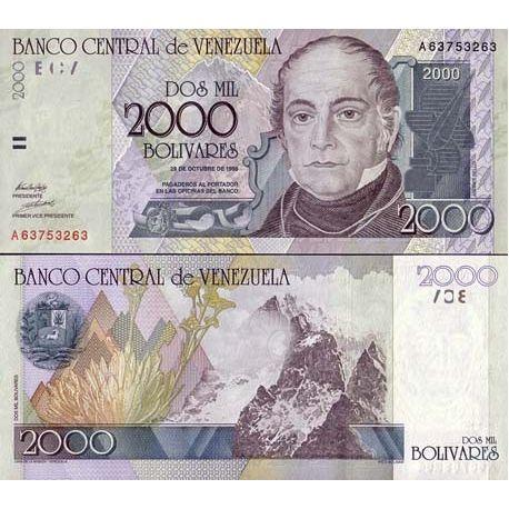 Billets banque Venezuela Pk N° 80 - 2000 Bolivares