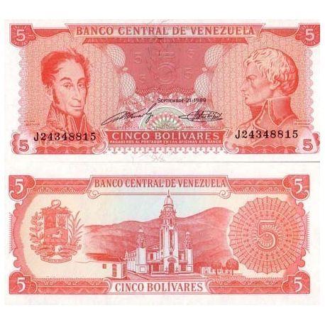 Billets de banque Venezuela Pk N° 70 - 5 Bolivares