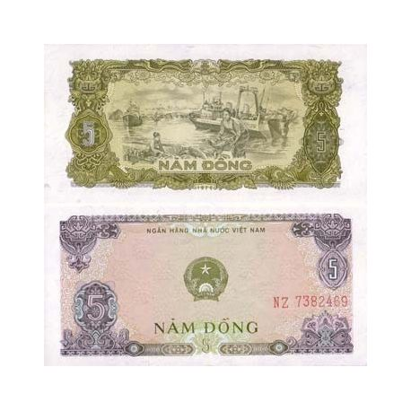 Billet de collection Vietnam Nord Pk N° 81 - 5 Dong