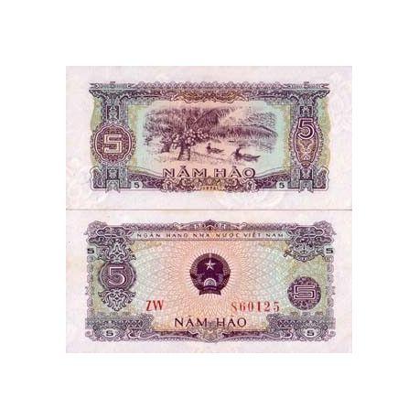 Billets de banque Vietnam Nord Pk N° 79 - 5 Dong