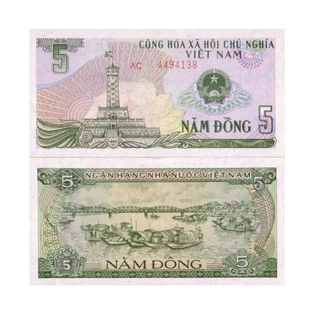 Billets collection Vietnam Nord Pk N° 92 - 5 Dong